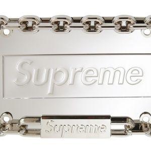 Supreme Silver License Plate Frame Kit New